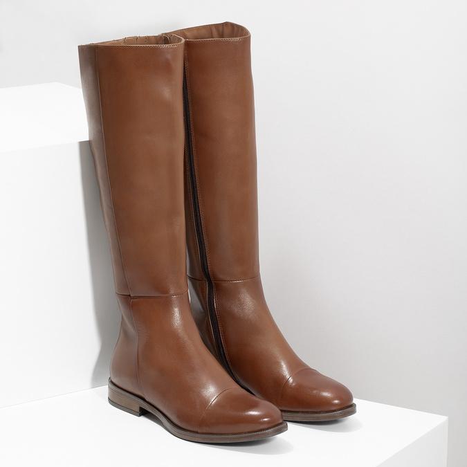 Hnedé kožené čižmy bata, hnedá, 594-4637 - 26