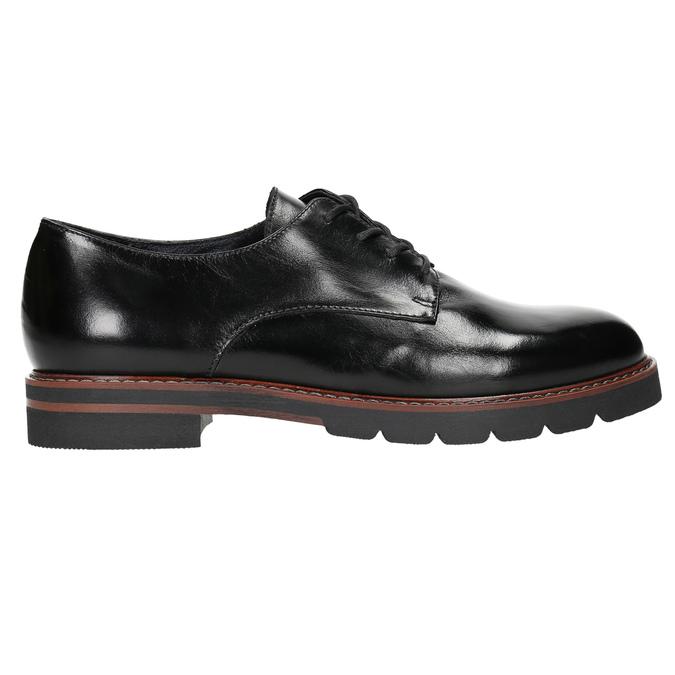 Kožené poltopánky na výraznej podrážke bata, čierna, 526-6642 - 15