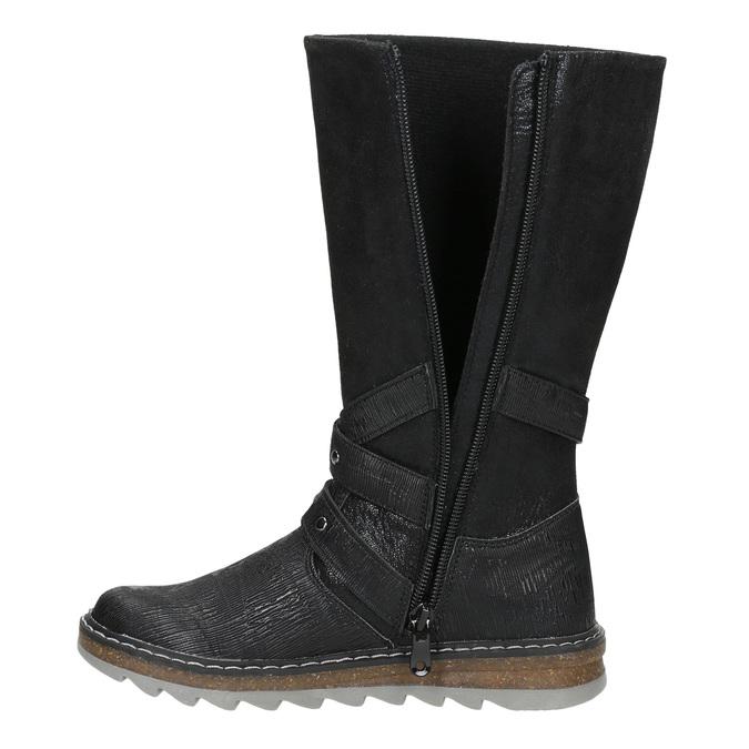 Dievčenské čižmy s masívnou podrážkou mini-b, čierna, 391-6657 - 15
