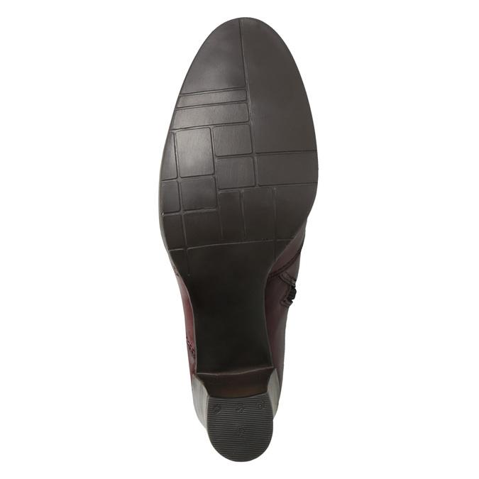 Kožené členkové topánky na podpätku bata, červená, 796-5647 - 19