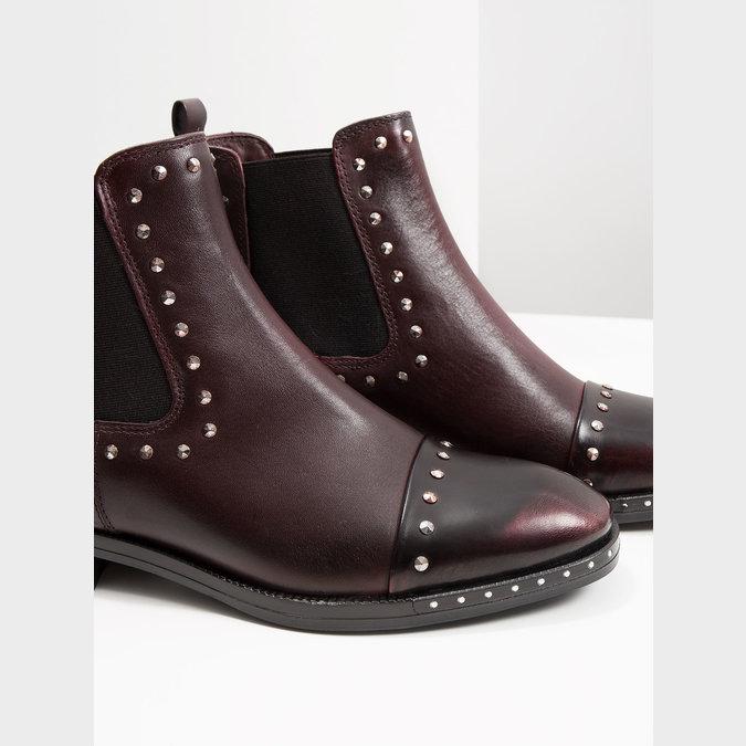 Kožená dámska Chelsea obuv bata, červená, 596-5679 - 14