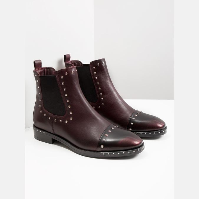 Kožená dámska Chelsea obuv bata, červená, 596-5679 - 18