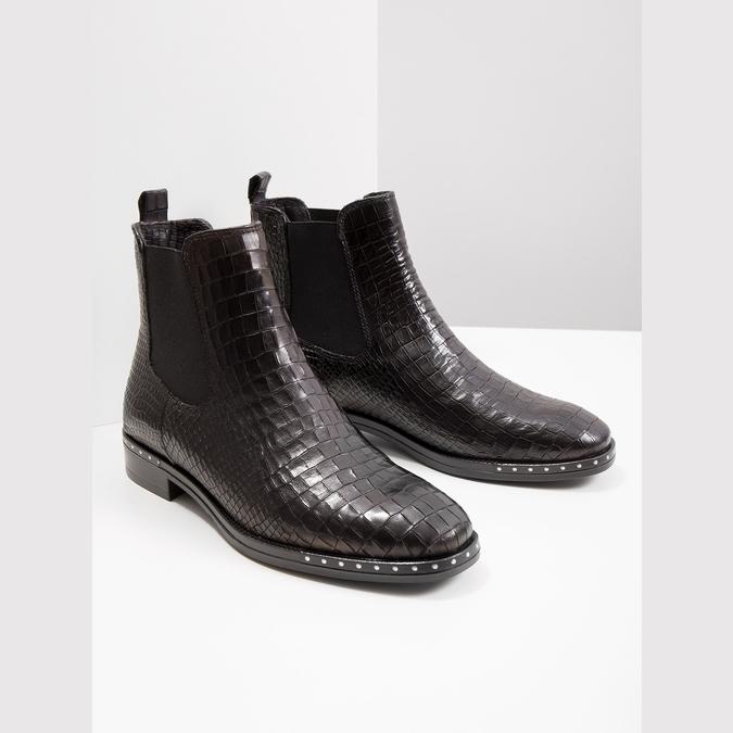 Kožená dámska Chelsea obuv so štruktúrou bata, čierna, 596-6678 - 18