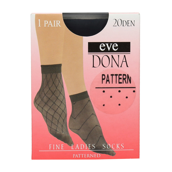 Dámske vzorované ponožky evona, čierna, 919-6671 - 13