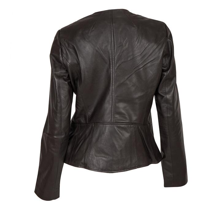 Dámska kožená bunda s asymetrickým zipsom bata, hnedá, 974-4177 - 26