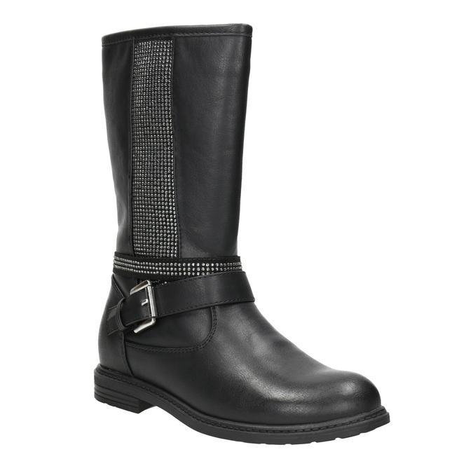 Dievčenské čižmy s kamienkami mini-b, čierna, 391-6398 - 13