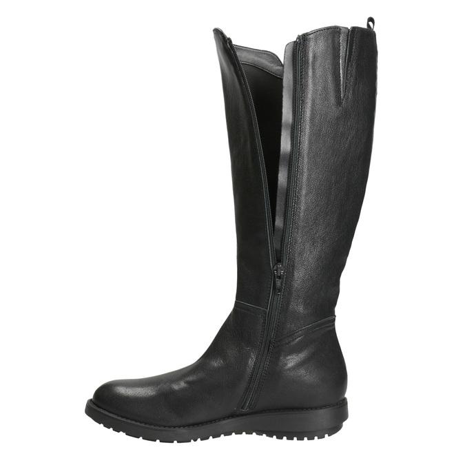 Dámske kožené čižmy so zipsom flexible, čierna, 594-6651 - 15