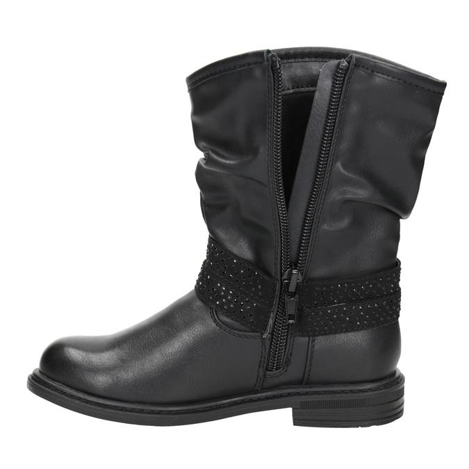 Dievčenské čižmy s kamienkami mini-b, čierna, 291-6397 - 15