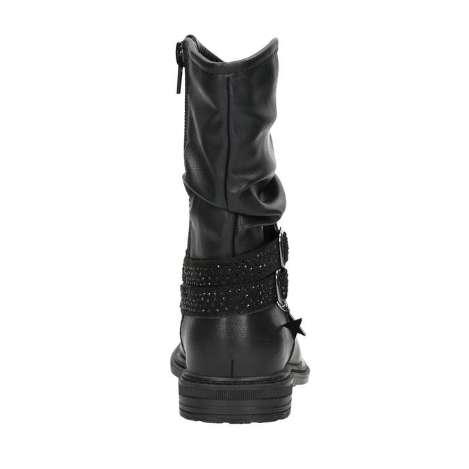 Dievčenské čižmy s kamienkami mini-b, čierna, 291-6397 - 16