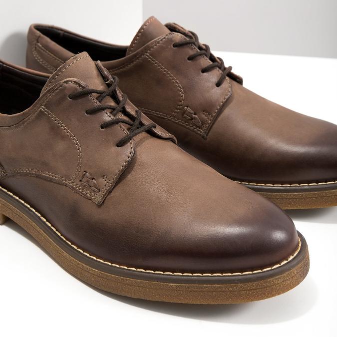 Hnedé kožené poltopánky bata, hnedá, 826-4620 - 14