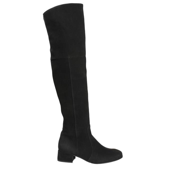 Dámske kožené čižmy nad kolená bata, čierna, 693-6604 - 26
