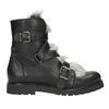 Kožená členková obuv s kožúškom bata, čierna, 594-6656 - 26