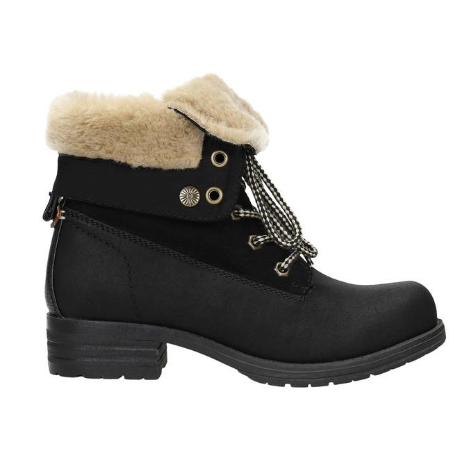 Členková obuv s kožúškom bata, čierna, 591-6618 - 15