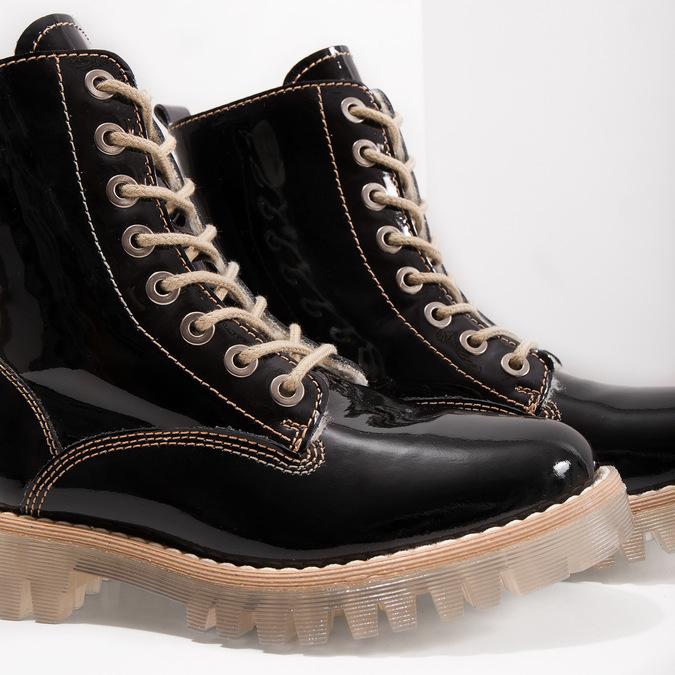 Lakovaná členková obuv s masivnou podrážkou weinbrenner, čierna, 598-6604 - 14