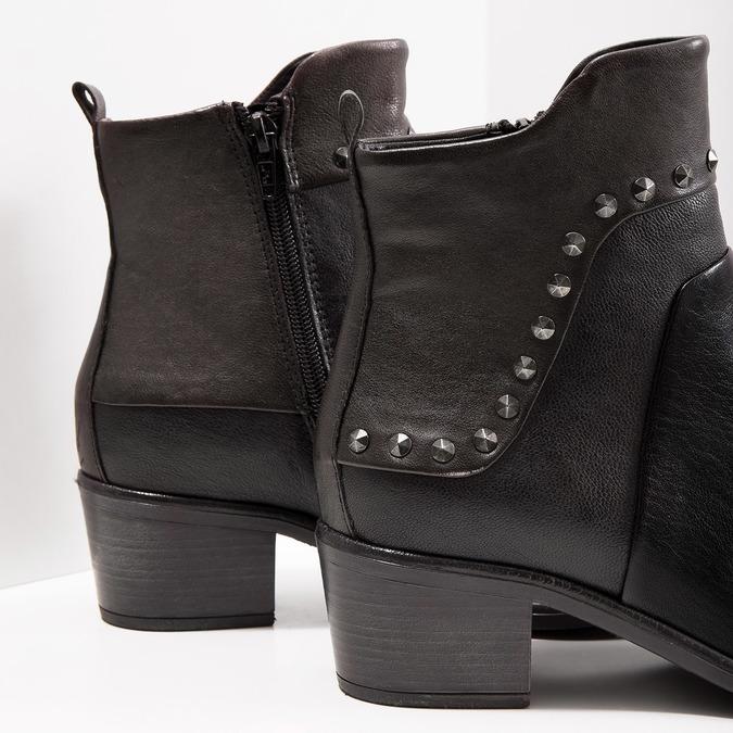 Členková kožená obuv s kovovými cvokmi bata, čierna, 696-6652 - 14