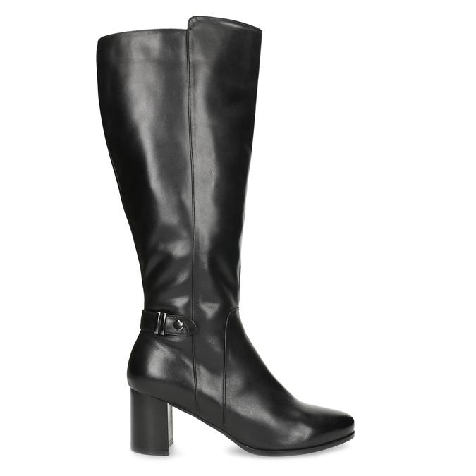 Čierne kožené čižmy s prešitím bata, čierna, 694-6639 - 19