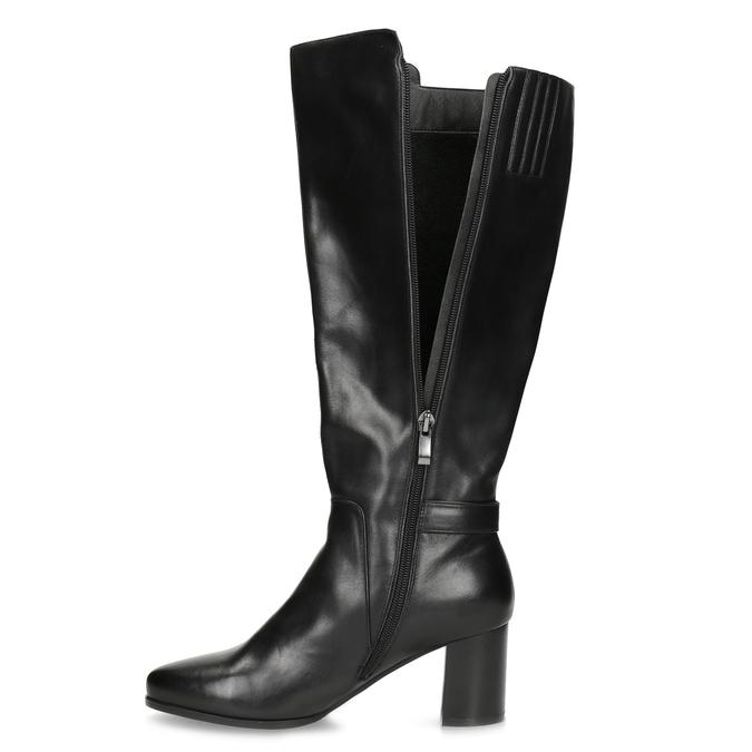 Čierne kožené čižmy s prešitím bata, čierna, 694-6639 - 17