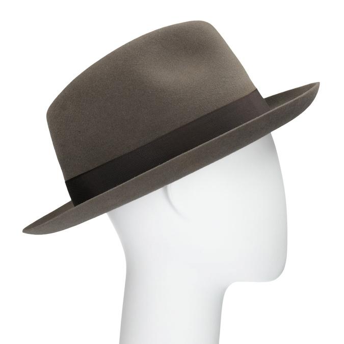 Pánsky hnedý klobúk s mašľou tonak, hnedá, 909-3648 - 13