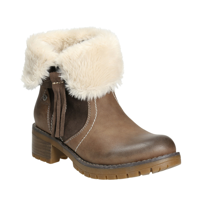 Členková obuv s kožúškom bata, hnedá, 691-2633 - 13