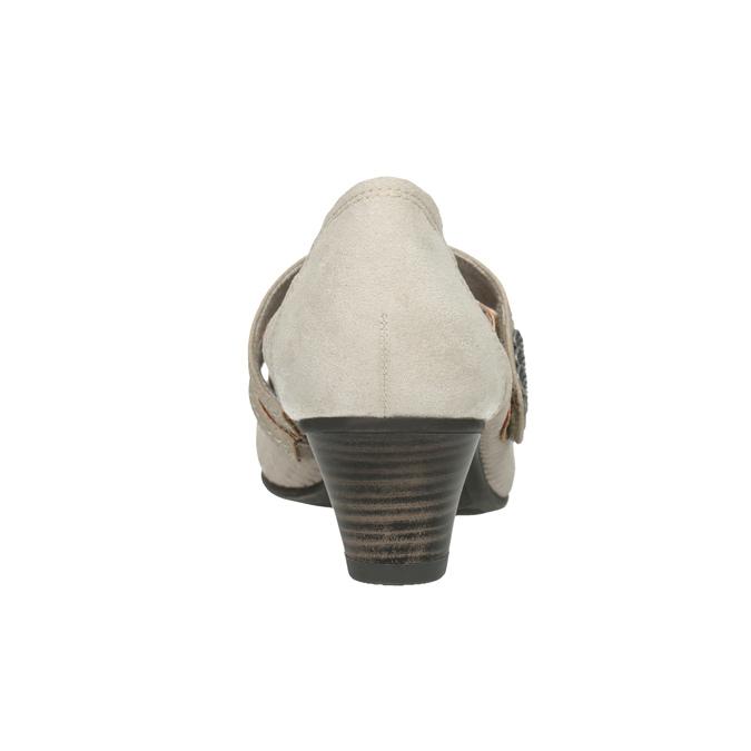 Kožené lodičky šírky H bata, béžová, 623-2600 - 16