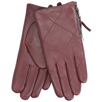 Vínové kožené rukavice so zipsom bata, červená, 904-5108 - 13