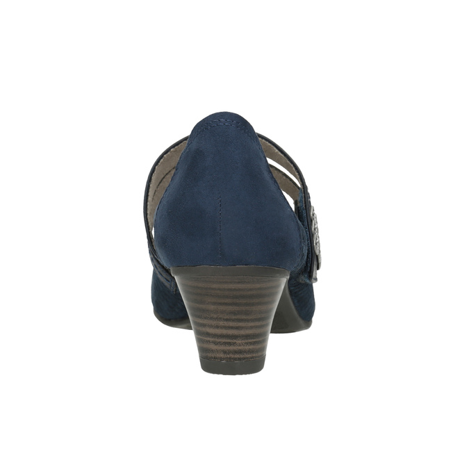 Modré kožené lodičky šírky H bata, modrá, 623-9600 - 16