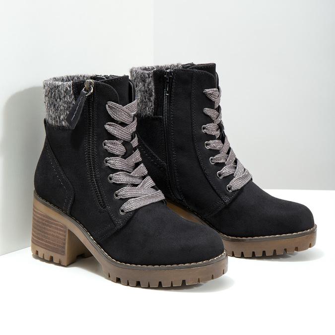 Členková obuv na masivnom podpätku bata, čierna, 699-6633 - 18