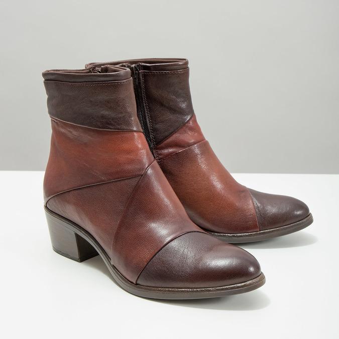 Kožené dámske členkové čižmy bata, hnedá, 696-4653 - 18