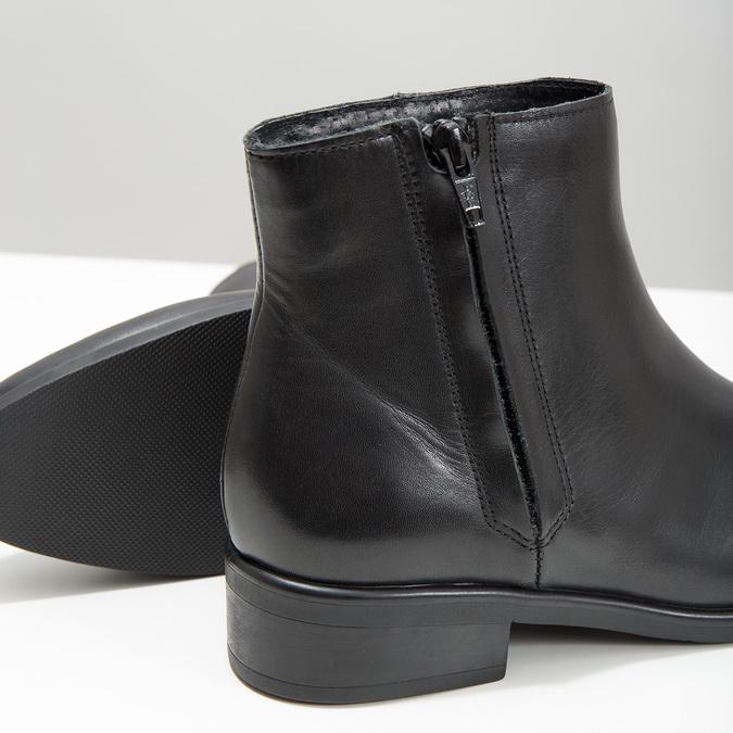 Kožená členková obuv so zipsom čierna bata, čierna, 594-6518 - 14
