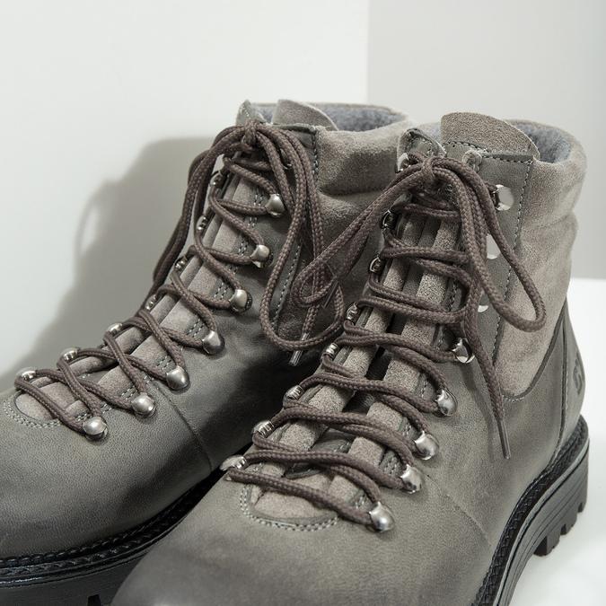 Členková dámska kožená obuv weinbrenner, šedá, 596-2672 - 14
