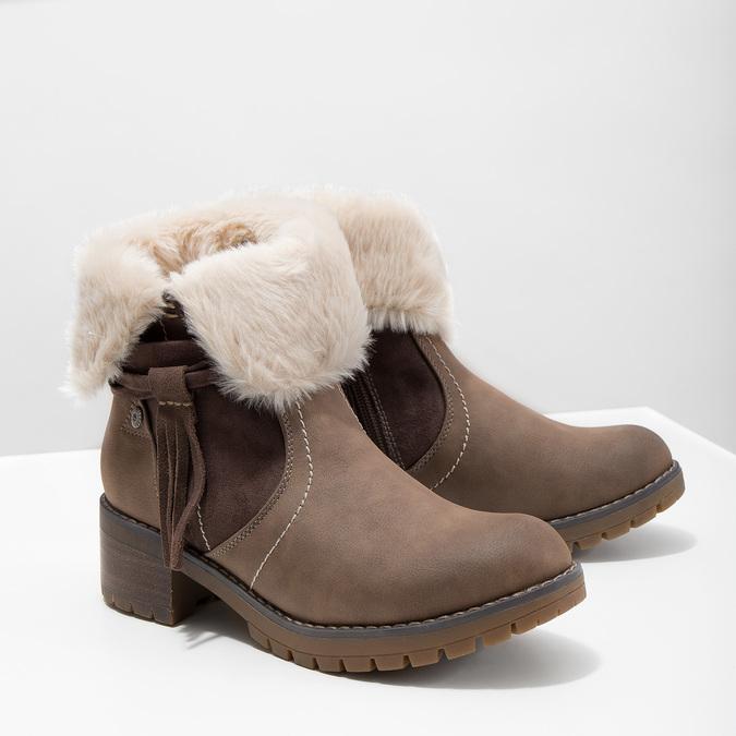 Členková obuv s kožúškom bata, hnedá, 691-2633 - 18