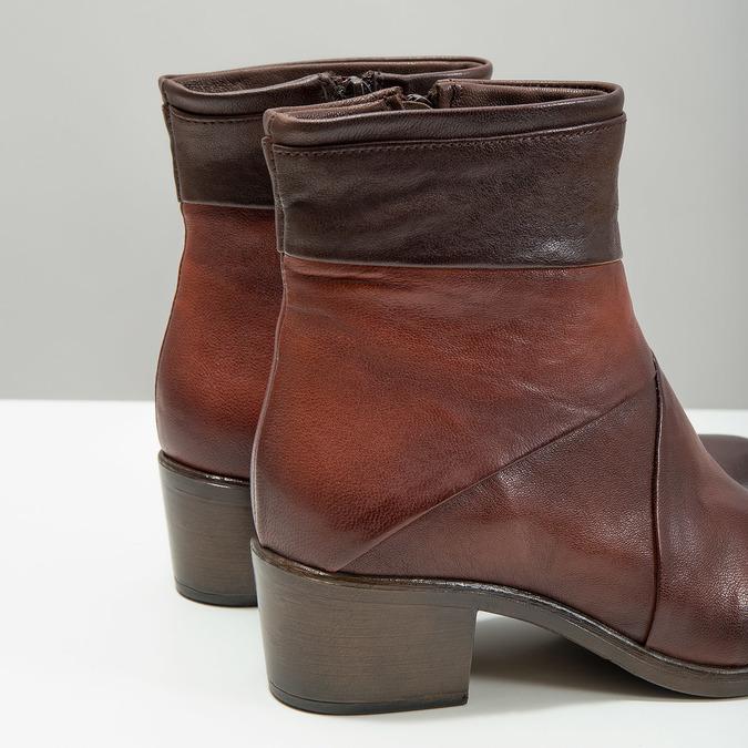 Kožené dámske členkové čižmy bata, hnedá, 696-4653 - 14