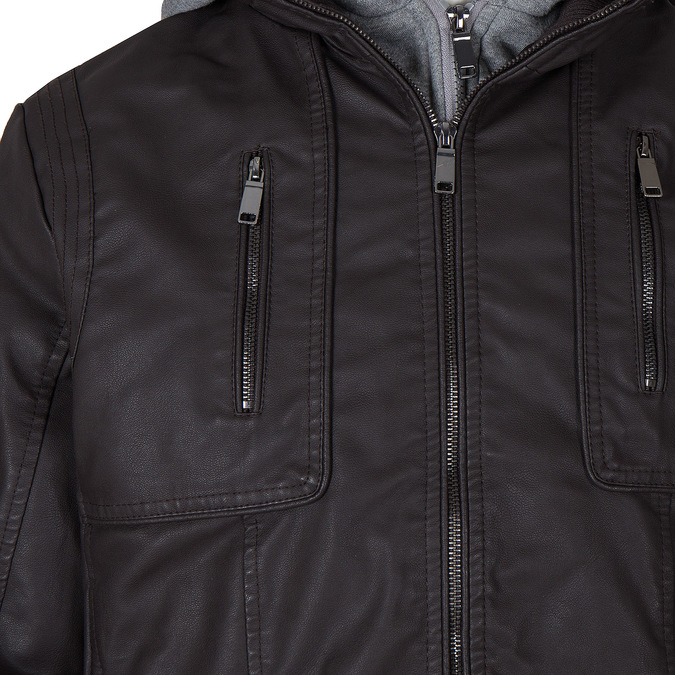 Pánska prešívaná bunda s kapucou bata, hnedá, 971-4126 - 16