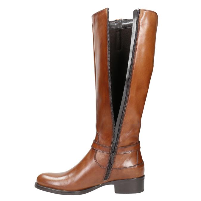 Hnedé kožené čižmy bata, hnedá, 596-4665 - 26