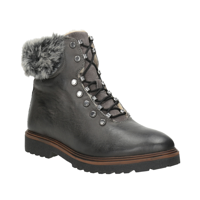 Kožená zimná obuv s kožúškom bata, šedá, 594-6650 - 13