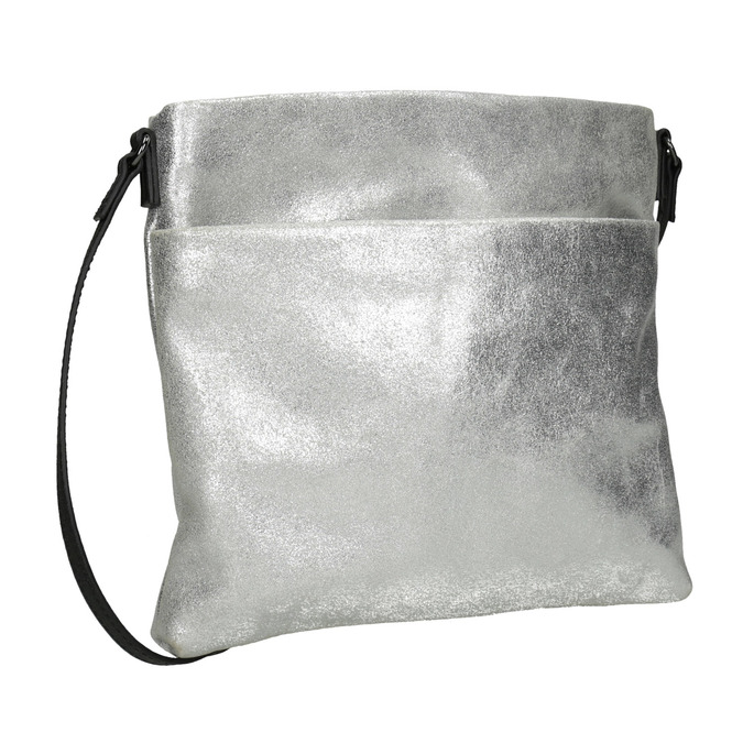 Strieborná kožená Crossbody kabelka bata, strieborná, 963-1192 - 13