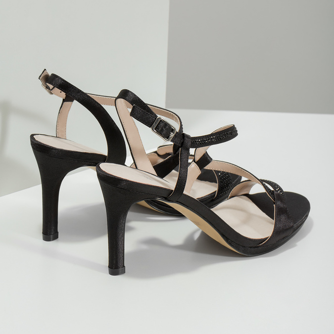 Dámske spoločenské sandále s kamienkami bata, čierna, 729-6611 - 16