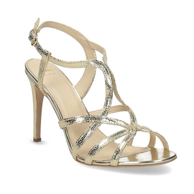 Zlaté spoločenské sandále z kože bata, 726-8648 - 13