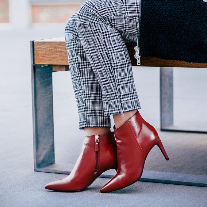 Kožená členková obuv červená bata, červená, 794-5651 - 18