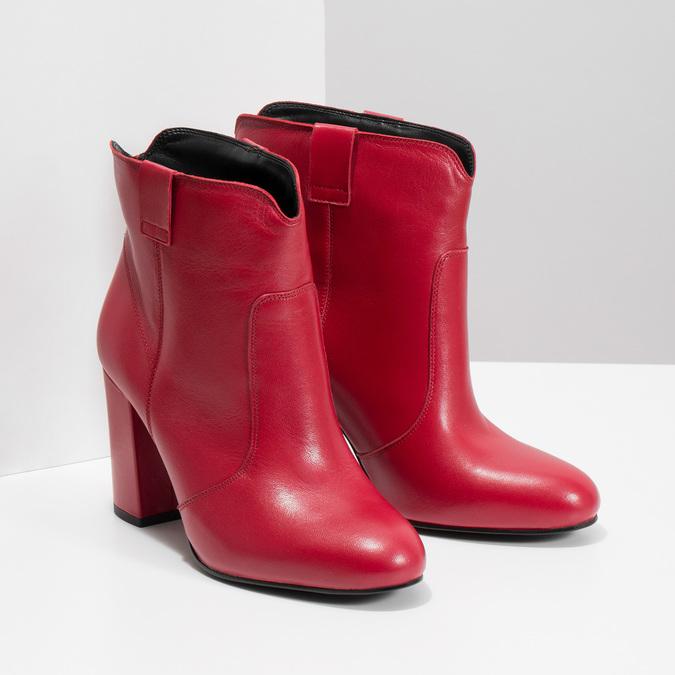 Červené členkové čižmy z kože bata, červená, 794-5652 - 26
