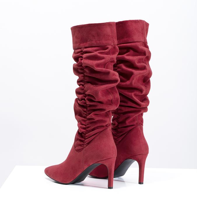 Dámske červené čižmy s riasením bata, červená, 799-5619 - 16