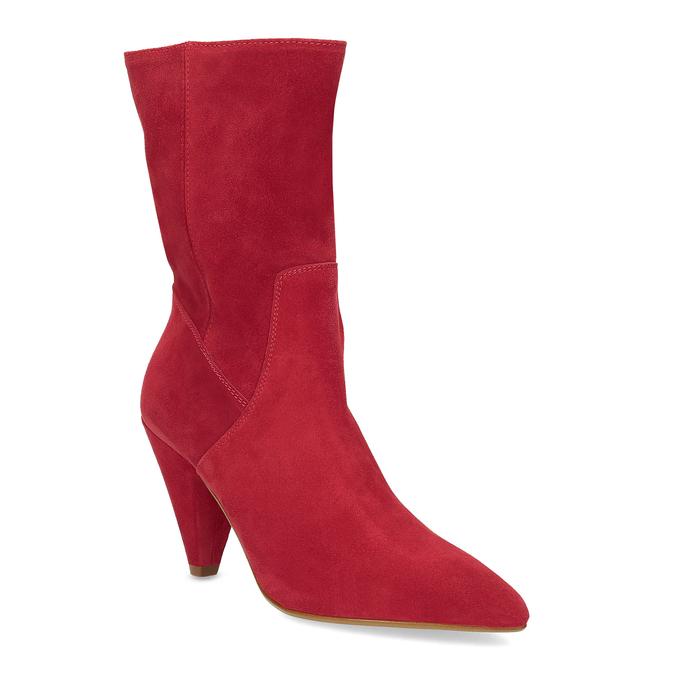 Červené kožené čižmy do špičky bata, červená, 793-5612 - 13
