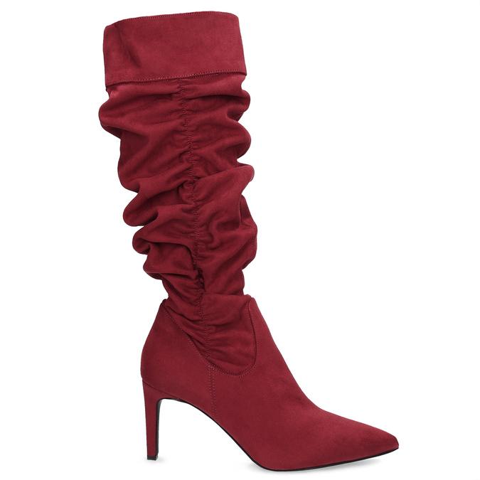Dámske červené čižmy s riasením bata, červená, 799-5619 - 19