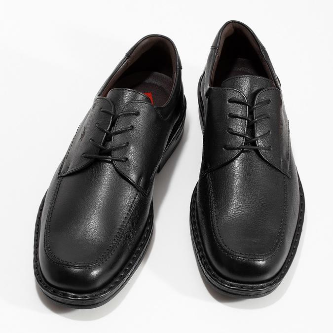 Čierne pánske kožené poltopánky s guľatou špičkou fluchos, čierna, 824-6451 - 16