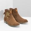 Členkové kožené čižmy s výšivkou bata, hnedá, 596-4686 - 26