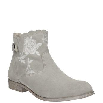 Členkové čižmy s výšivkou bata, šedá, 596-2686 - 13