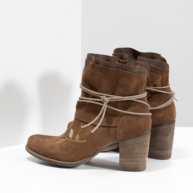 Kožené členkové čižmy s výšivkou bata, hnedá, 696-4655 - 16