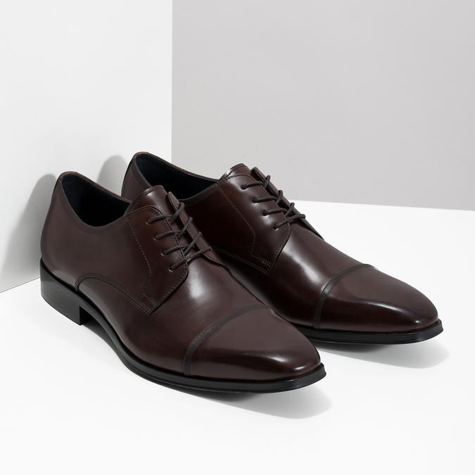 Tmavé hnedé kožené Derby poltopánky bata, hnedá, 826-4851 - 26