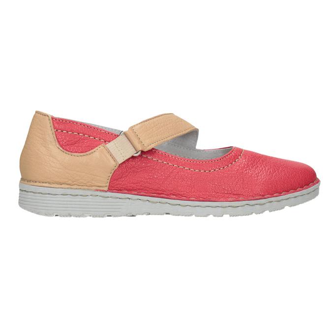 Kožené baleríny s remienkom bata, červená, 526-5651 - 26