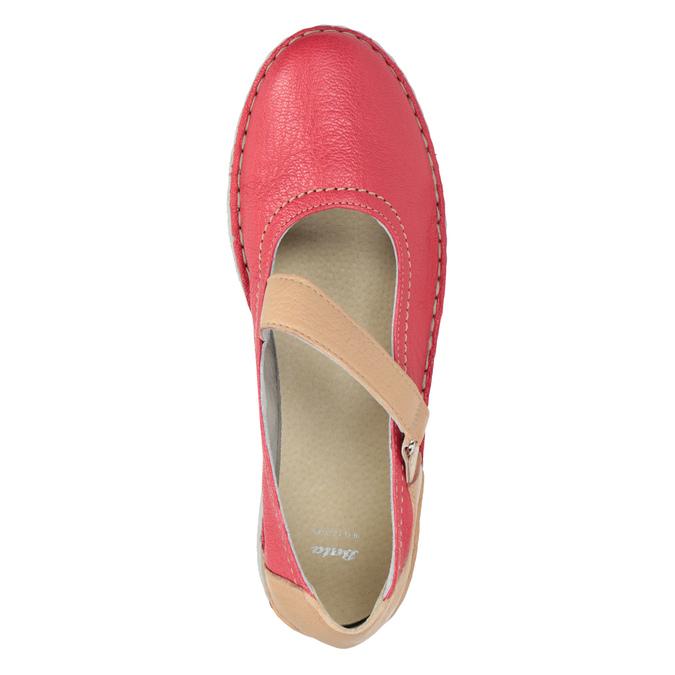 Kožené baleríny s remienkom bata, červená, 526-5651 - 15